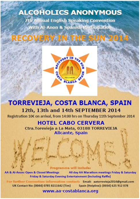 RECOVERY IN THE SUN CONVENTION 2014 front flyer