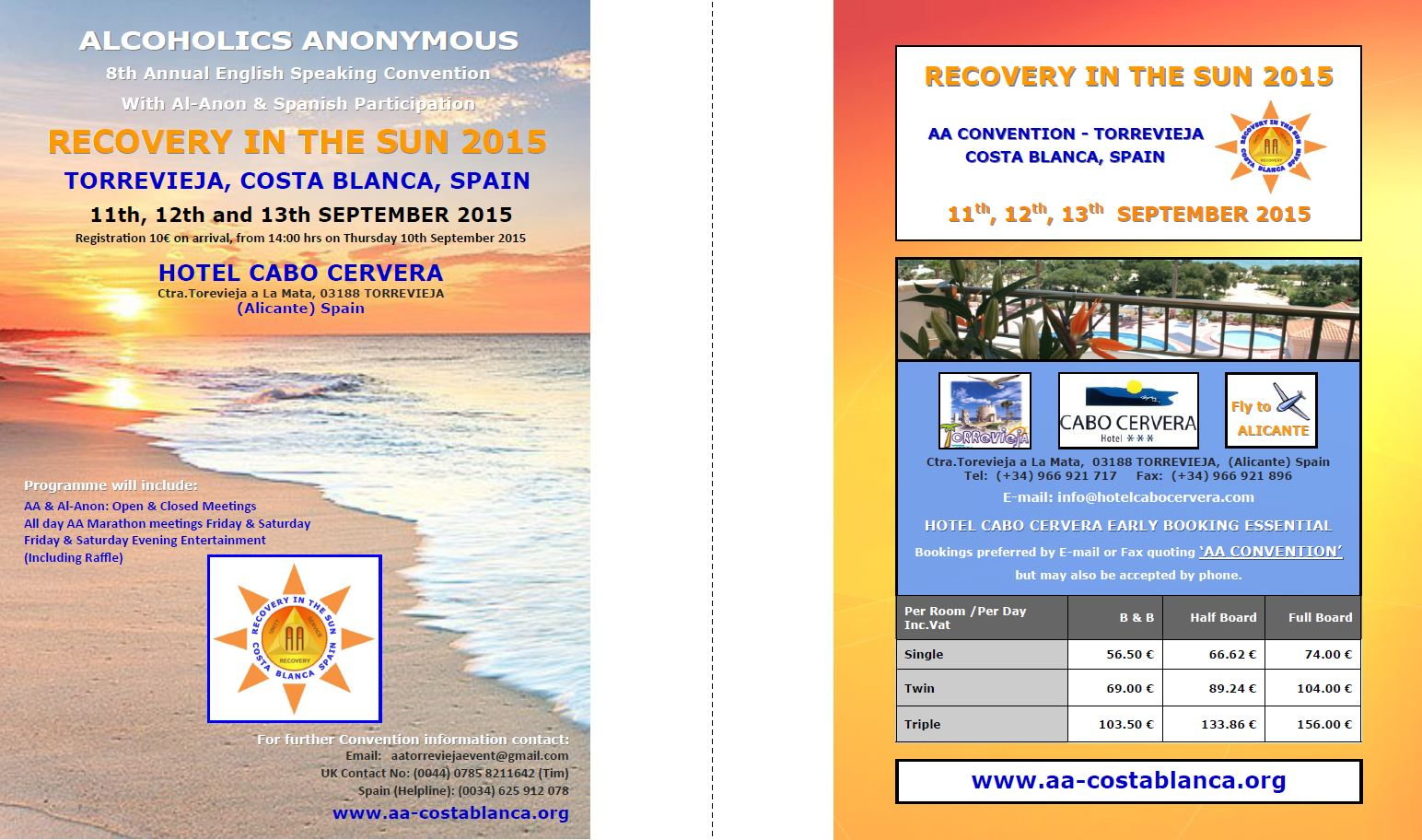 RECOVERY IN THE SUN CONVENTION 2015 Flyer
